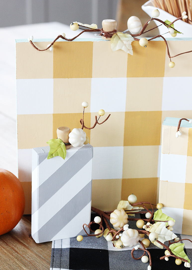 DIY Painted Wood Block Pumpkins