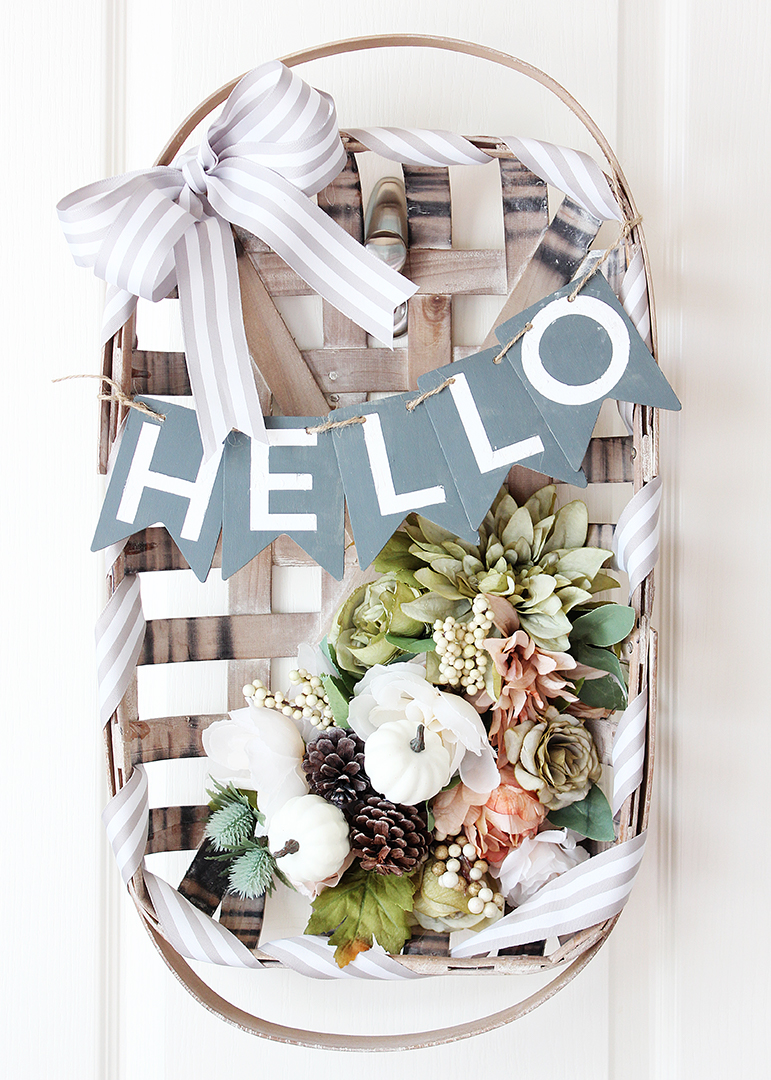 DIY Tobacco Basket Wreath with Flowers