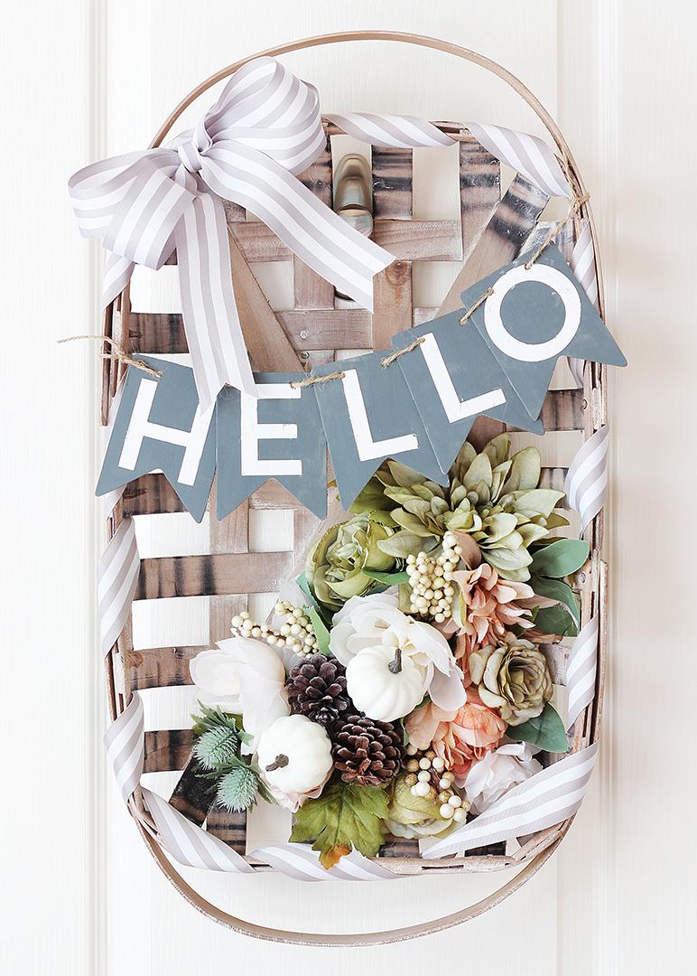 Fall Floral Tobacco Basket Wreath