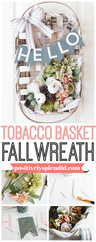 Fall Flower Tobacco Basket Wreath