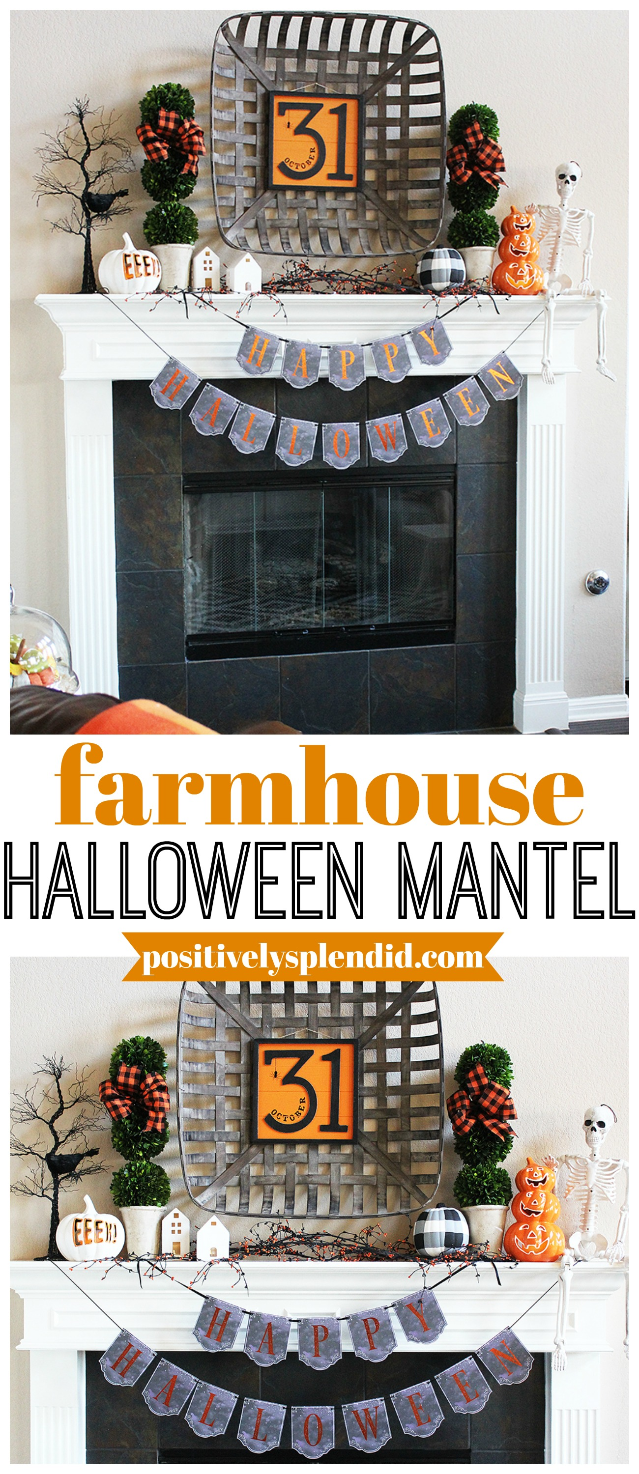 Farmhouse Halloween Mantel Decor