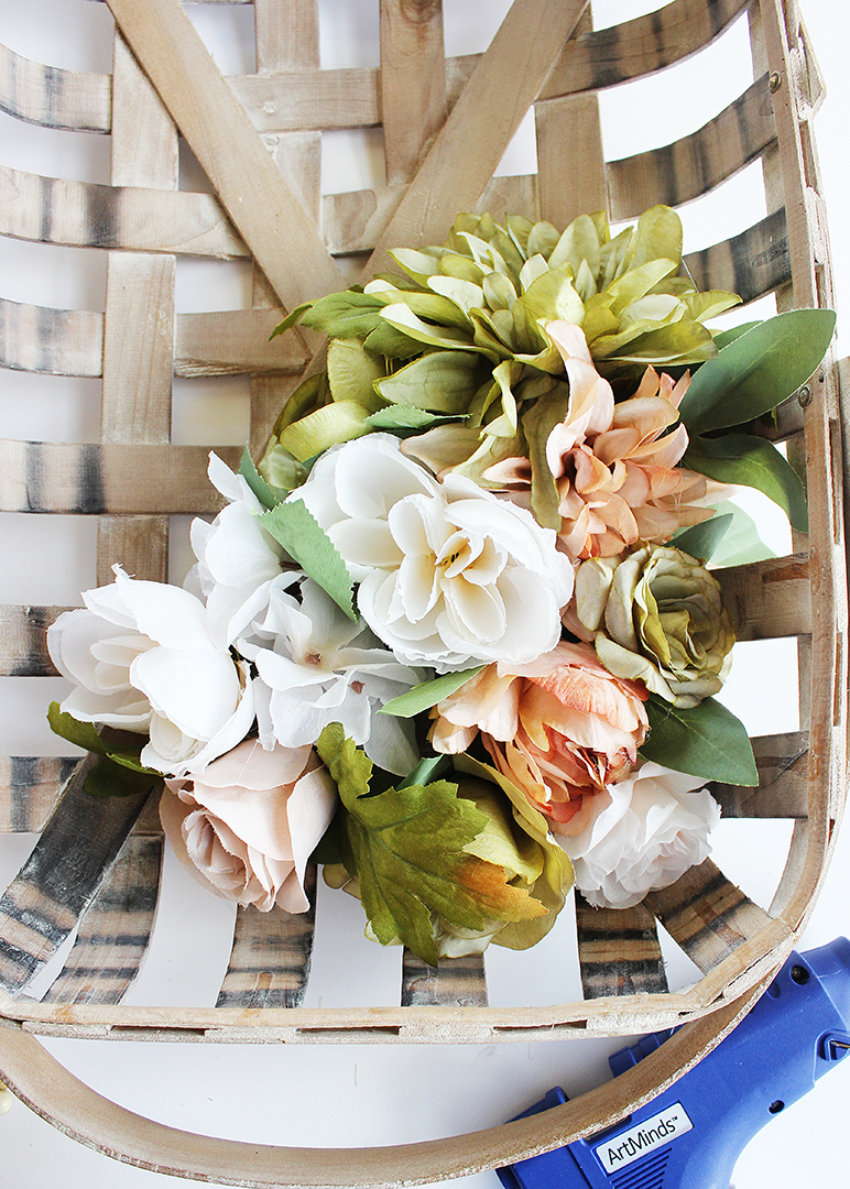 Tobacco Basket Wreath with Flowers
