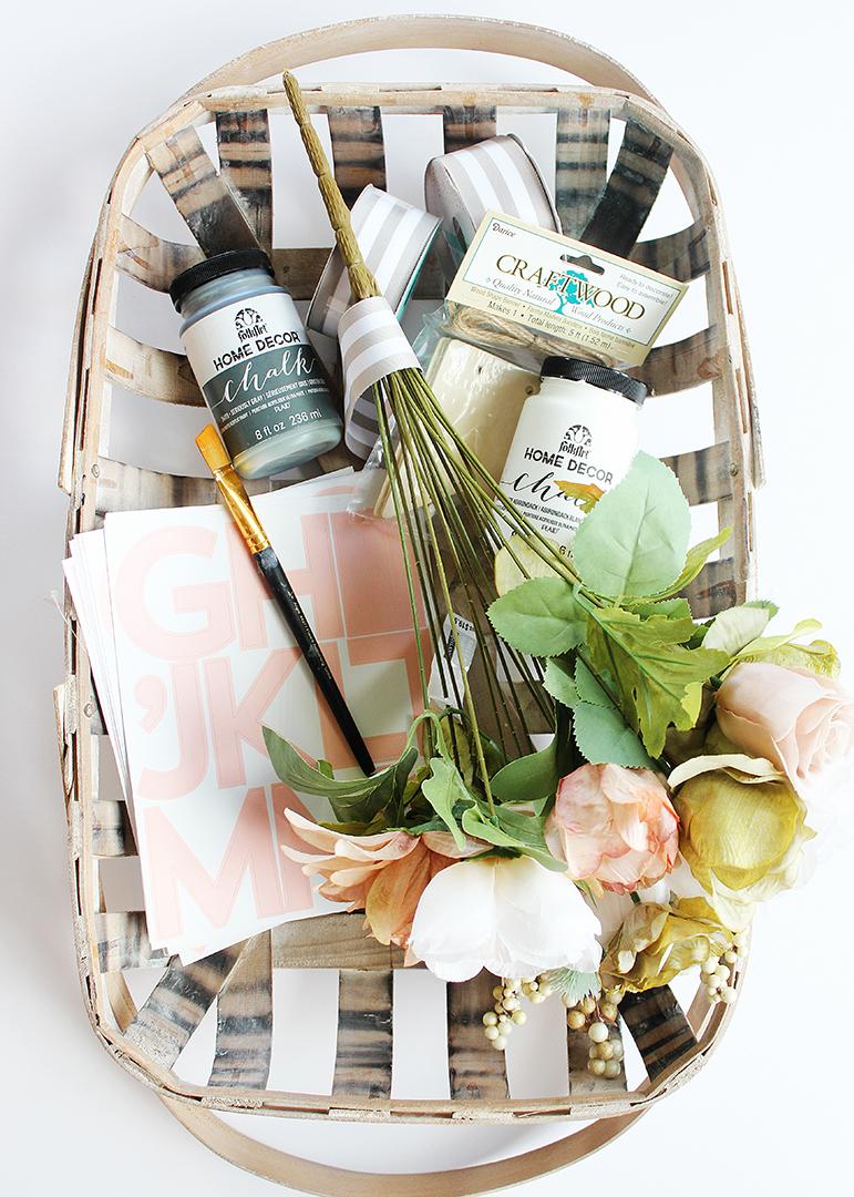 Fall Floral Tobacco Basket Wreath Farmhouse Decor Idea