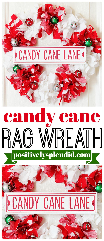 Candy Cane Christmas Rag Wreath Tutorial