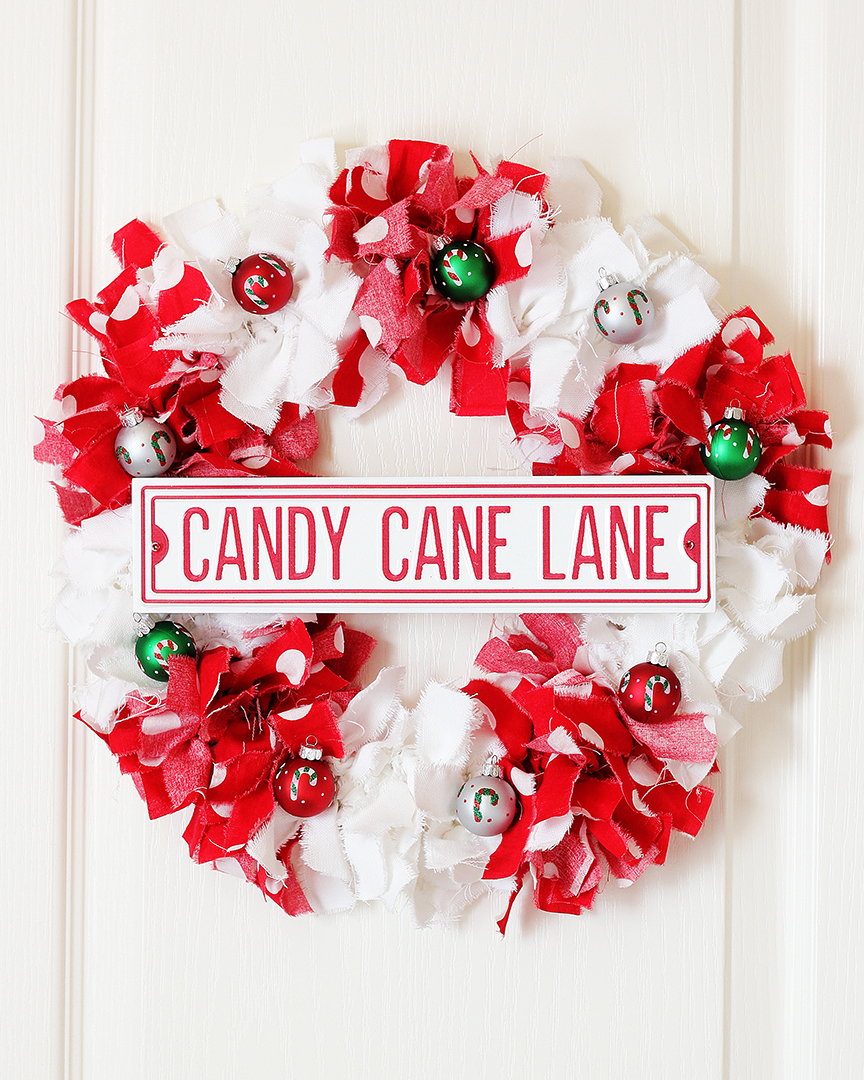 Candy Cane Christmas Rag Wreath