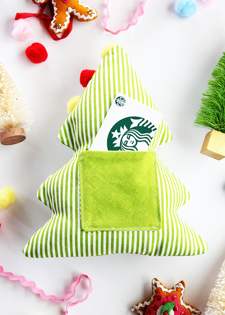 Fabric Christmas Tree Gift Card Holder