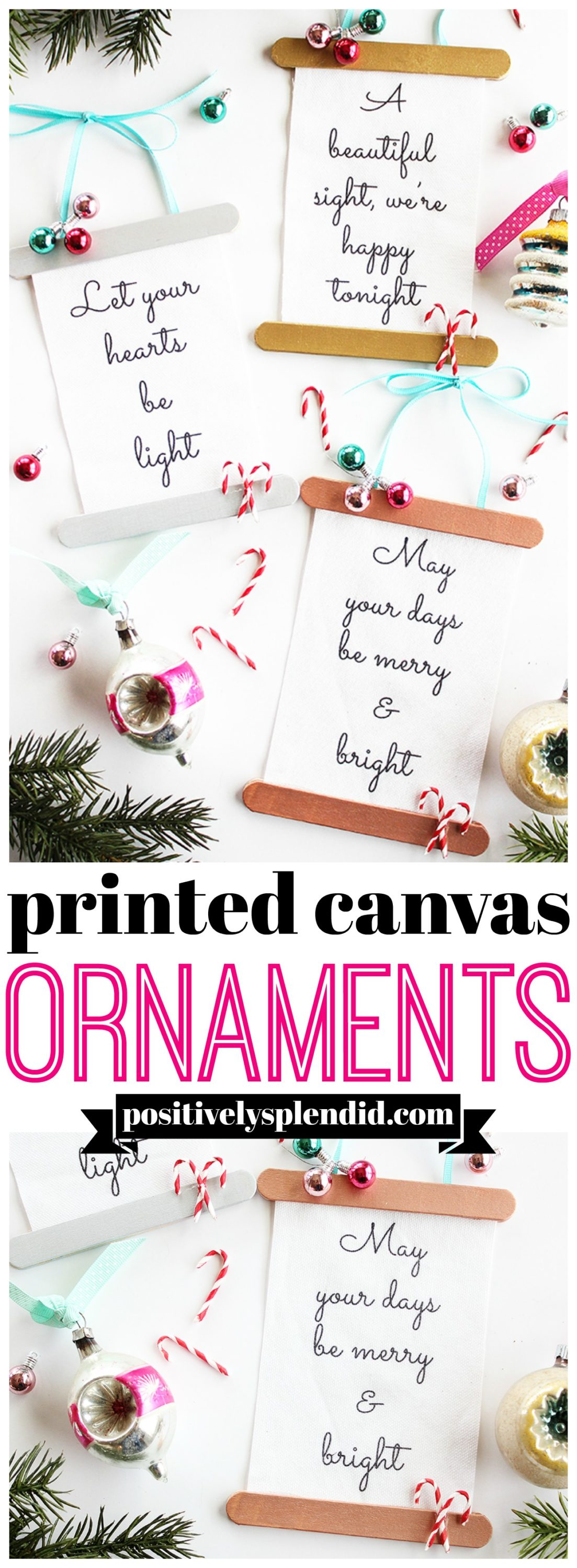 Printed Canvas Handmade Christmas Ornaments