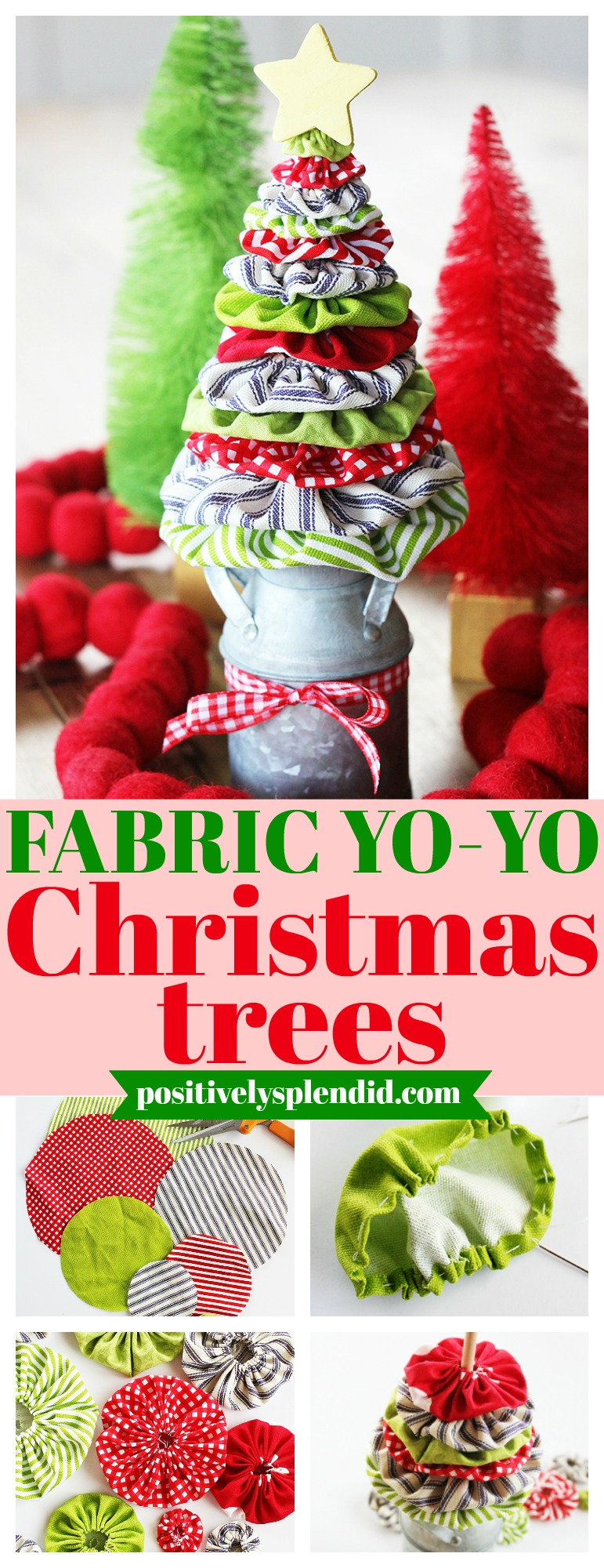 Fabric Yo-Yo Christmas Tree Tutorial and Templates