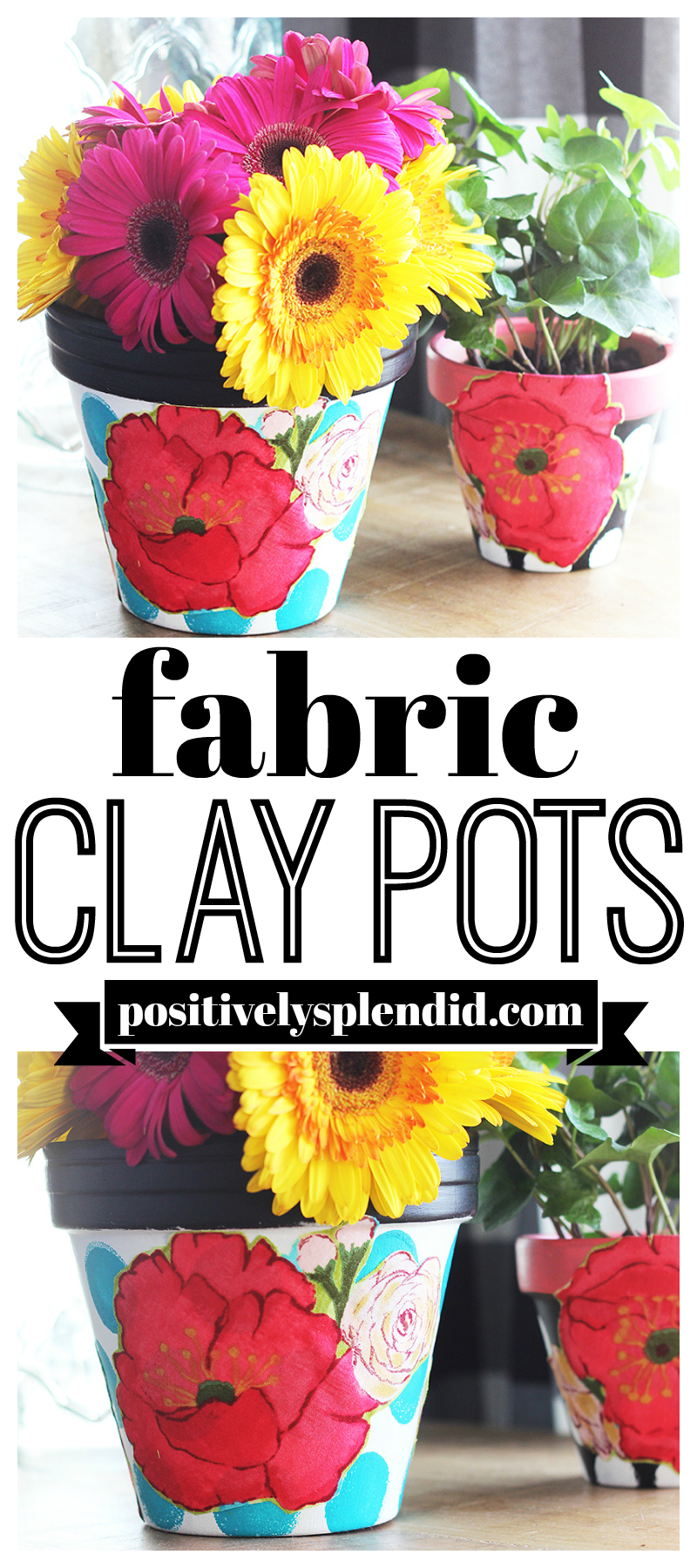 Mod Podge Fabric Clay Pots