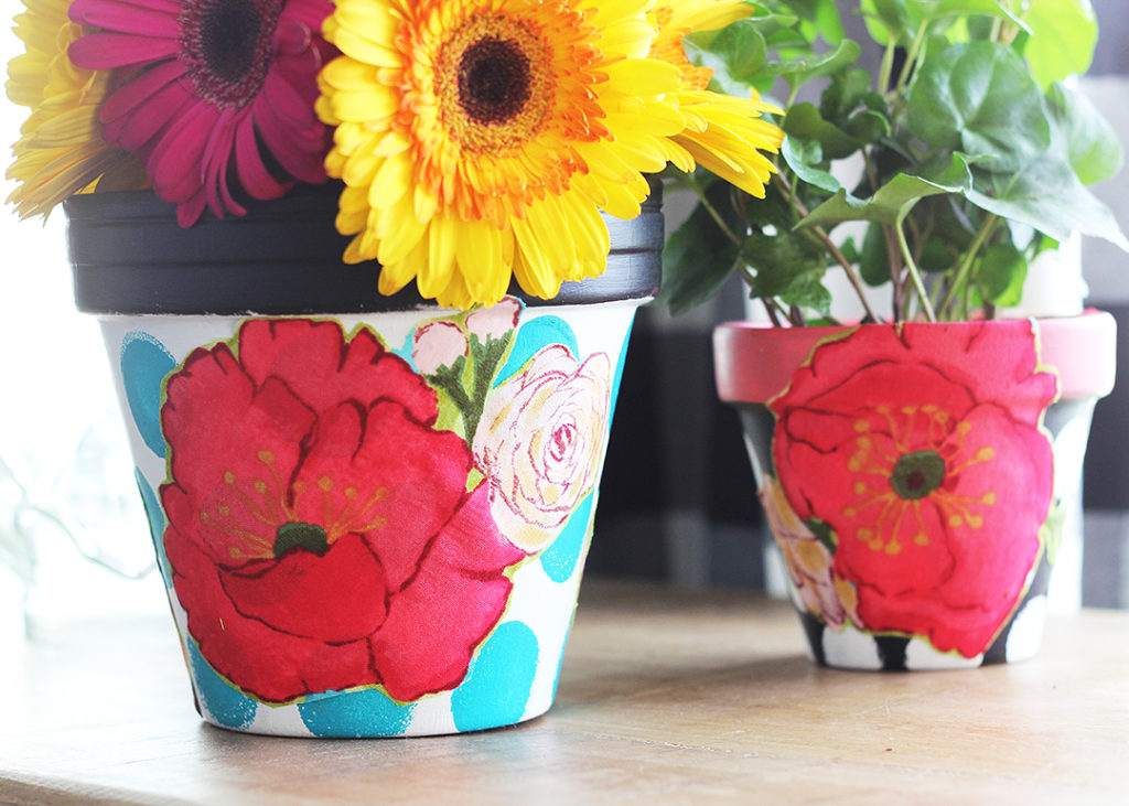 Mod Podge Painted Flower Pots