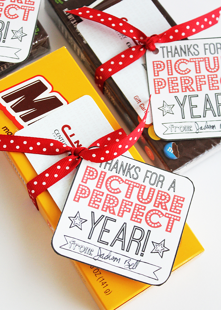 movie gift card teacher gifts with free printable tags