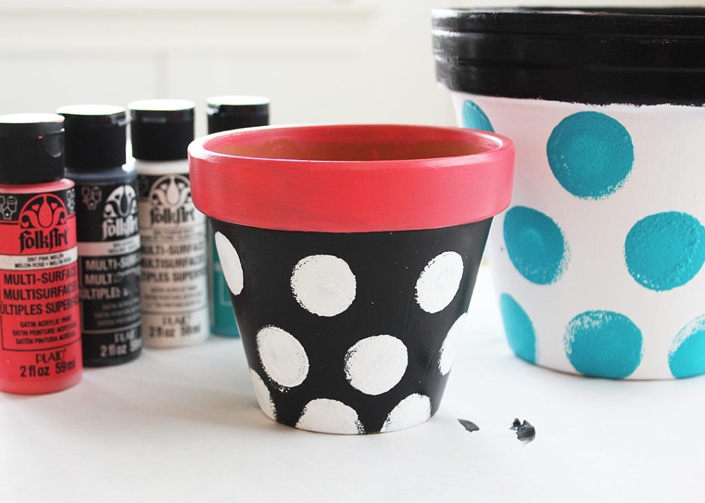 Polka Dot Painted Pots