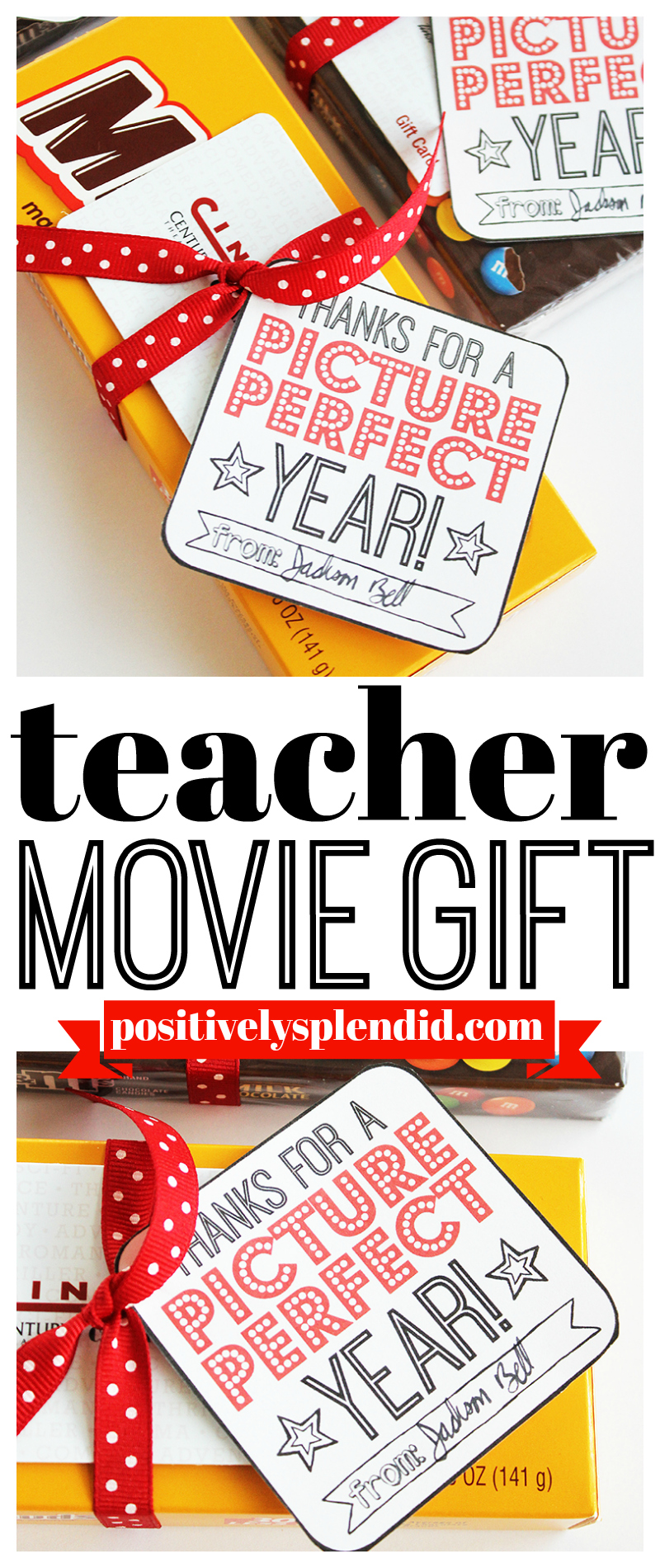 Movie Teacher Gift Idea with Printable Tags